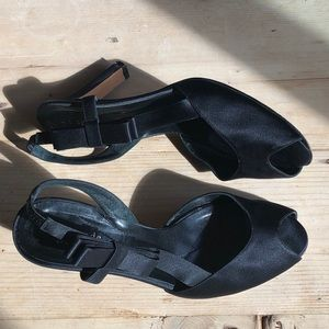 Kate Spade Black Bow Satin Heels